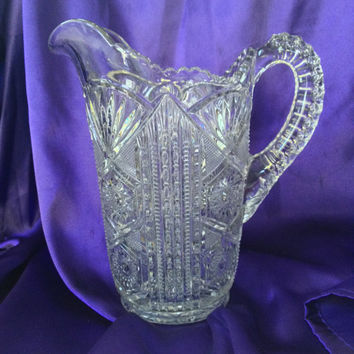 EAPG Water Pitcher, Early 1900s Pressed Glass, Hobstar, Ladder, Prism, Fan Pattern, Gorgeous Antique Display Glass