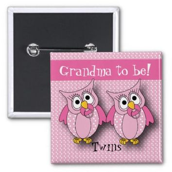 Pink Polka Dot Twin Owls | Grandma to be 2 Inch Square Button