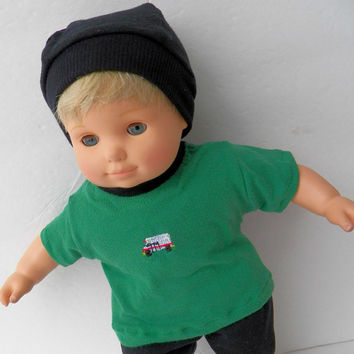 """Bitty Baby Clothes Black Pants / Fleece Lined Green Firetruck T shirt & hat (cap)- Fits 15"""" American Girl Bitty Baby Boy, Girl, or Twin"""