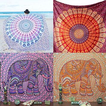 LMF9GW Indian Tapestry Wall Hanging Hippie Elephant Mandala Bedspread Ethnic Throw Art
