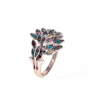 Dear Deer White Gold Plated Multicolor Peacock CZ Cocktail Ring