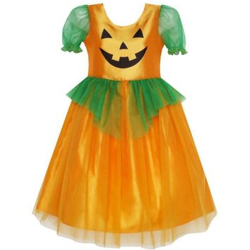 Sunny Fashion Girls Dress Pumpkin Tulle Party Dress Halloween Costume 2018 Summer Princess Wedding Dresses Clothes Size 3-14