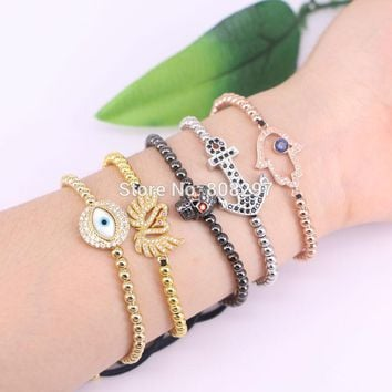 New Arrival 10Pcs Mixed Style Micro Pave CZ Connector Beads Macrame Bracelet Women Men Jewelry