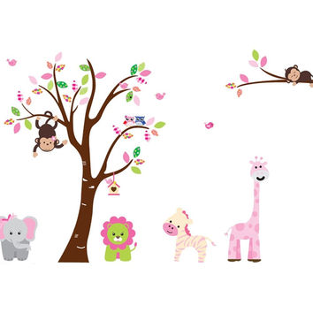 Jungle Zoo and Tree Wall Decal for Children's Nursery Monkey Wall Decal