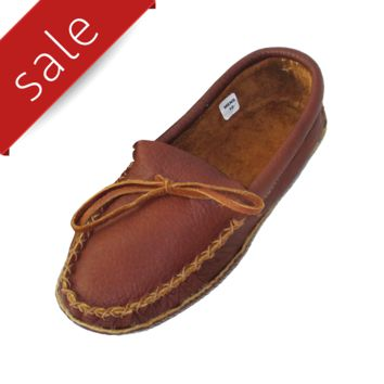 Men's Buffalo Hide Leather Moccasin Slippers