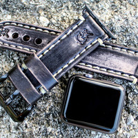 Distressed Black Apple Watch Strap