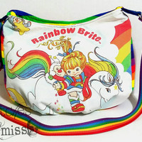 Rainbow brite purse, vintage rainbow brite upcycled purse, rainbow hobo bag MADE TO ORDER