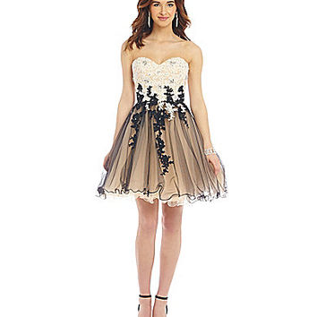Savannah Nights Lace Overlay Two Tone Party Dress | Dillards.com