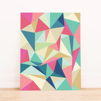 Printable Art Abstract Geometric  Bright Triangle Poster