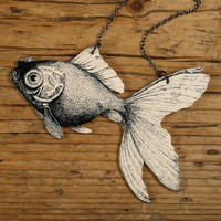 Goldfish Necklace by mamaslittlebabies on Etsy