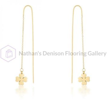 Patricia Gold Stainless Steel Clover Threaded Drop Earrings E01875G-V00