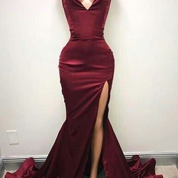 B| Chicloth Burgundy Mermaid Prom Dresses Sweetheart Evening Gowns