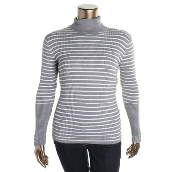 Style & Co. Womens Striped Long Sleeves Turtleneck Sweater