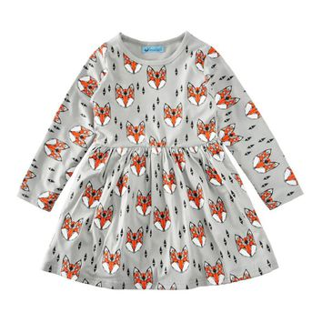 Kids girls cotton clothing dress Fashion Baby Girl Dress Clothes Long Sleeve Foxes Print Long Sleeve Toddler Kid Princess Dress