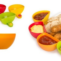 Dip Clips Set of 4/Dip clips secures to any plate's rim/Set of 4 mini side bowls in bright colors that clip on plates (Size: 7.5cm by 7.5cm by 3.5cm, Color: Multicolor)