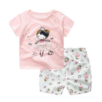 New Spring summer Children girl Clothing Sets Cartoon Boys Sports Pink Suit Baby girls Boys Short sleeves+Pants 2pcs Kid Clothes