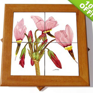 10% OFF Lazy Susan - Cherry Wood with Mosaic Shooting Stars Flowers Watercolor Ceramic Tiles