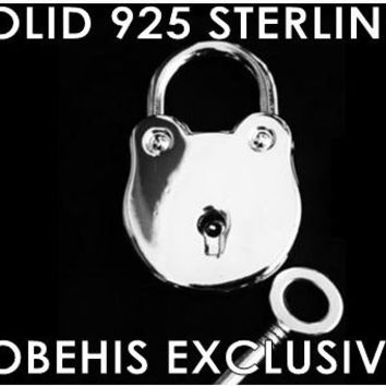 925 Solid Sterling Silver Functional Working Round Frog Padlock Lock & Sterling Key BDSM Slave Bondage for Collar Reg 199.95