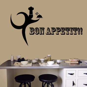 Wall Decals Bon Appetit Quote Phrase Words Chef Server Cooking Cafe Kitchen Decor Interior Design Vinyl Sticker Decal Home Art Murals KG805