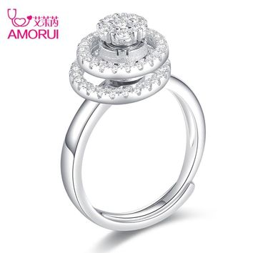 AMORUI AAA Zircon Adjustable Engagement/Wedding Rotating Dancing Double Ring Motivation Rings for Women Anniversary Jewelry Gift