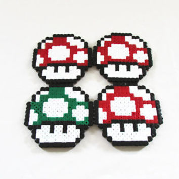 Super Mario drinks coasters , 1up power mushroom hama / perler bead coasters , video game pixel art