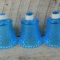Set of Three Vintage Blue Hobnail Sconce/Candle Holder/Globe