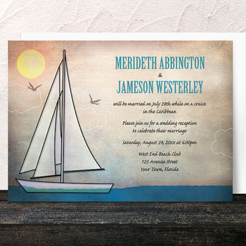 Nautical Reception Only Invitations - Rustic Sailboat at Sea - Sailing design Post-Wedding Reception - Printed