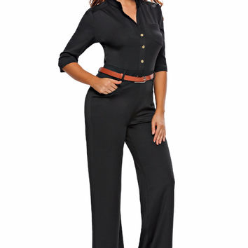Overalls Rompers Womens Jumpsuit Autumn Elegant Long Pant Loose Work Party 2017 Half Sleeves Belted Wide Leg Combinaison Femme