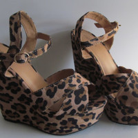 90s Leopard Print Shoes Wedge Sandal sz 6.5 Cheetah Fur Women Wedge Shoe Cheetah Print Shoes