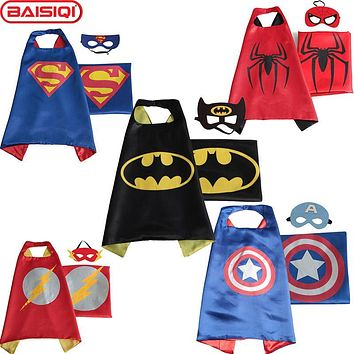 High quality Mask+Cloak for boy girl Superhero Cape Halloween Xmas New Year gift Kid Birthday party supply accessory figure toy