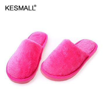 US SIZE Winter Slippers Women Indoor Flat Shoes Solid Color Men Home Slippers Multi- D