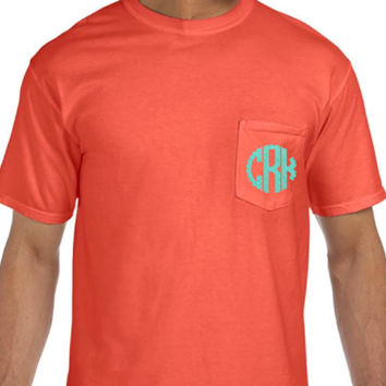 Comfort Colors Pocket Tee with Glittered Scallop Monogram