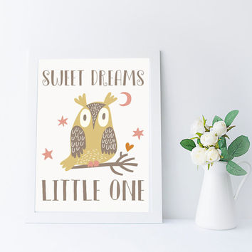 Sweet Dreams Little One, Kawaii Owl Art, Nursery Printable, Instant Download, Bedtime Quote, Kids Room Wall Art