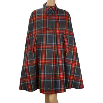 Vintage 60s - 70s Cape Red and Gray Plaid Wool Coat Outerwear