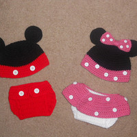 SPRING SALE Twin Mickey & Minnie Mouse Crochet Hat and Diaper Cover