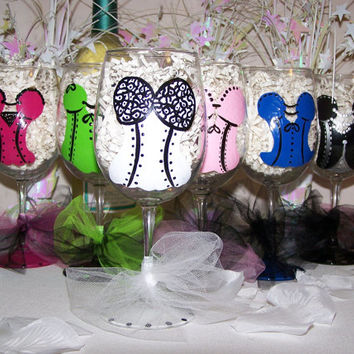 Hand Painted Wine Glass Corset Bachelorette Party Assorted Lingerie Set of 12 Perfect Bridesmaid Gift or Bachelorette Party Favors