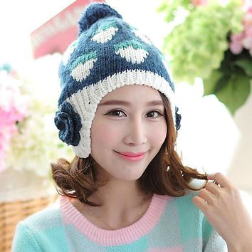 Strawberry Pattern Large Flowers Women Winter Warm Ear Muff Hat With Hair Ball Autumn Handmade Braided Knitted Beanie Cap