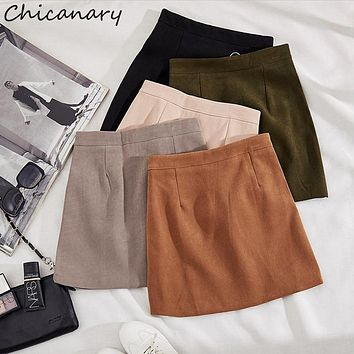 Chicanary Suede Front-zip A-line Skirt Women High Waist Mini Skirts
