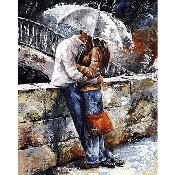 Frameless romatic lover DIY Painting By Numbers Home Art Wall Figure Pictures For Living Room Modern Decoration Picture Artwork