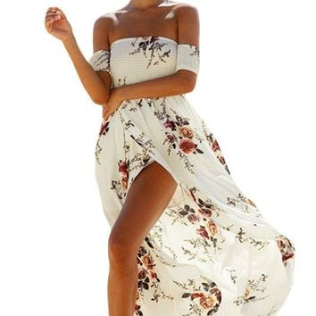 Smoked Off Shoulder White Floral Maxi Dress