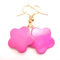 Earrings with Hot Pink Mother of Pearl Flowers on by Septagram