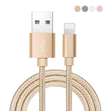 IOS Micro USB Cable 1M Fast Charger & Data Cable Nylon Cable Mobile Phone USB Charger Cable Coque Cover Case For iPhone 5 SE 6 7