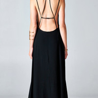 BLACK BACKLESS CAGED MAXI DRESS