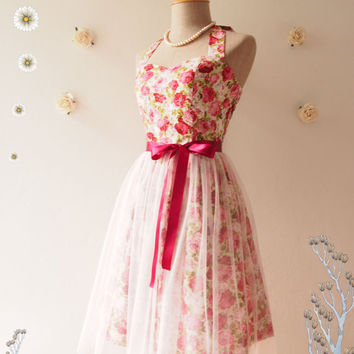 Fairy Romance Floral Dress Floral Bridesmaid Dress Vintage Inspired Party Dress Pink Rose Tutu Dress Fairy Dress Dancing Dress- XS-XL,Custom