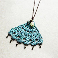 Statement pendant necklace lace jewelry mint green teal