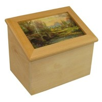 "THOMAS KINKADE ""Cobblestone Evening"" Wooden Recipe Box"