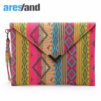 Aresland Womens Classical Designer Geometric Patterns Canvas Envelop Clutch Women's Hand Bag Purse Long Wallet with Wrist Strap
