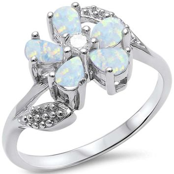 Pear Cut White Fire Opal & Round White Topaz Flower Ring