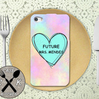 Future Mrs. Mendes Pastel Pink Tumblr Candy Heart Cute Rubber Tough Case iPhone 4/4s and iPhone 5 and 5s and 5c and iPhone 6 and 6 Plus +