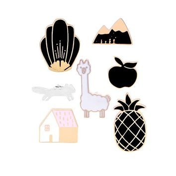 Black White Enamel Pin Men Cartoon Pineapple House Apple Women's Brooches Pins Denim Jackets Lapel Badge Women Kids Jewelry Gift